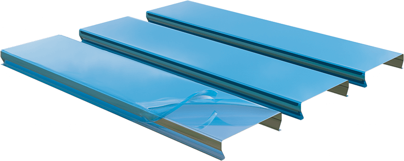 Protective film on aluminum ceiling